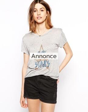 Ganni T-Shirt with Glitter Star Motif