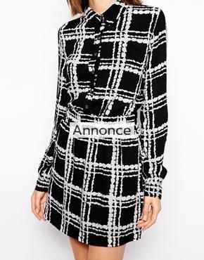 Ganni Shirt Dress in Monochrome Check kjole