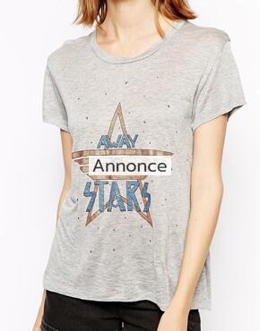 Ganni T-Shirt with Glitter Star Motif shirt