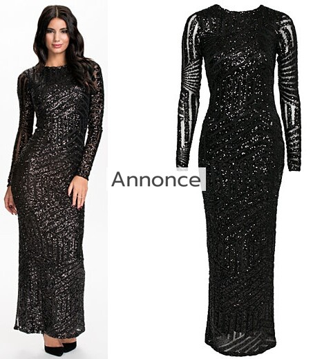 RIVER ISLAND SEQUIN MAXI DRESS gallakjole med ærmer