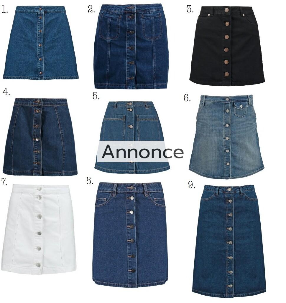 denim nederdel med knapper